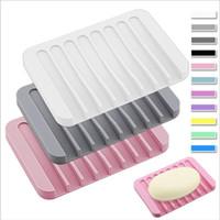 Soporte de plato de jabonera de silicona antideslizante antideslizante platos de jabón suave por soporte de jabón suave bandeja de bandeja rectángulo rectángulo contenedor baño de baño DHC5637