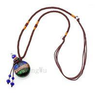 Yingwu Blue Goldfolie Muranoglas Kleine bunte Öl Asche Urne Flasche Kork Anhänger Vial Halskette1