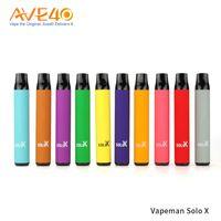 원래 Vapeman Solo X 일회용 Vape 장치 미리 채워진 키트 850mAh 배터리 1500 퍼프 전자 담배