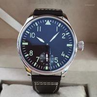 Nenhum logotipo manual relógio masculino masculino 44mm mostrador preto número verde café cinta de café gaivota st3621 movimento g1121 relógios de pulso