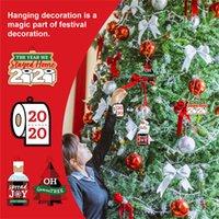 Новогоднее украшение украшения бумаги Кулон туалетной бумаги 2021 Letters Украшение Xmas Tree Подвески висячие игрушки сувениры партии E111705