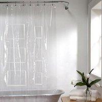 ستائر الحمام البلاستيك PEVA حمام الستار للماء شفافة بيضاء الحمام واضح مع 12 جيوب