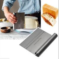 스테인레스 스틸 벤치 스크레이퍼 피자 반죽 커터 측정 가이드 15 * 11.5cm 주방 도구 규모 EEA2179와 함께 두꺼운 국수 나이프