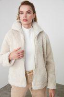 Simplee Elegant pink shaggy women faux fur coat streetwear Autumn winter warm plush teddy coat Female overcoat party