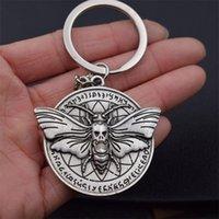 1pcs Round Dead Head crâne papillon Hawkmoth porte-clés cadeau de Noël