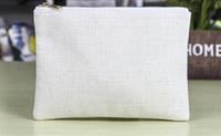 10 قطع 16 * 23 سنتيمتر الذهب سستة حقيبة التجميل التسامي الأبيض فارغة القطن الكتان حقيبة ماكياج