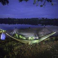 Viajes Mosquitera al aire libre Hamaca Doble 210T Tienda de nylon Camping Air Paño Anti-Mosquito Paracaídas W8Z71