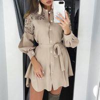 Casual Dresses Plus Size Autumn Shirt Dress Women Solid Stand Neck Lace Patchwork Long Sleeve Belt Mini Ladies Buttons Ruffle Party