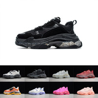 Mens Crystal Bottom Paris Triple S 17FW Sneakers Black Cream Green Red Old Dad Shoes Womens Casual Trainers Retro Ladies Designer Shoes