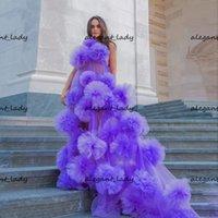 Chic Long Purple Dress Pulffy Handmade Flowers Flowers Illusione Abiti da ballo con treno lungo una spalla Vestire Vedere attraverso abiti da festa