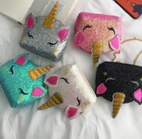 반짝이 유니콘 체인 가방 아이들 만화 크로스 바디 숄더 가방 소년 소녀 Fanny 팩 허리 가방 귀여운 ins 동전 지갑 지갑 파우치