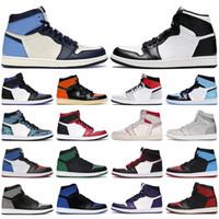 2021 Yüksek Jumpman 1 1 S OG Basketbol Ayakkabı Orta Chicago Kraliyet Toe Metalik Altın Çam Yeşil Siyah UNC Patent Erkek Kadın Spor Sneakers
