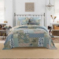 Shabby Chic Floral 3 Pezzi Patchwork PedsPread Pillow Shams Sumer Quilts Set Queen King Size 100% cotone Reversibile Ultra Soft1