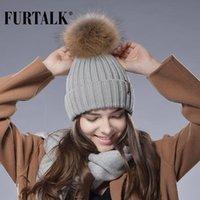 قبعة / جمجمة قبعات furtalk قبعة الفرو الحقيقي محبوك كبير الراكون بوم المرأة الشتاء
