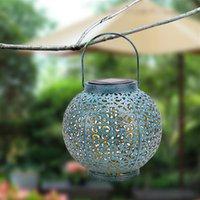 LED 태양 광 조명 제어 자동 유도 장식 램프 IP44 야외 방수 정원 레트로 철 램프 따뜻한 흰색 빛