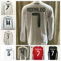 레트로 마드리드 유니폼 긴 소매 빈티지 0 02 03 04 05 06 07 Zidane Beckham Fabregas Ronaldo Carlos Raul Robben Bale Benzema Figo Kaka Owen 클래식 셔츠