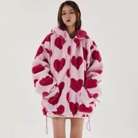 Parka Flanell Sherpa Jacket Mantel Frauen Streetwear Druckform Drucken Zipper Mit Kapuze Jacke Winter Mantel