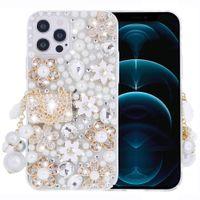 İPhone 12 Pro Max Mini Durumda 11 XS XR X 8 7 6 S Artı Kılıf Kadınlar Sparkly Rhinestone Elmas Çiçek Temizle Kapak