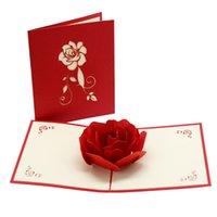 3D Rose Grußkarten Valentines Tag Grußkarte Kreative handgemachte Valentinstag Geschenke für Frauen XD24436