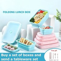 Silicone Lunch Box Foldable Food Storage Bento Box Kid BowlFood ContainerMicrowave Portable Picnic Camping Outdoor Product 201015