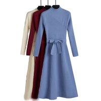 Gigogou 여성 겨울 Turtleneck 스웨터 드레스 가을 겨울 사무실 레이디 긴 A 선 세련 된 Pleated 풀오버 드레스 201126