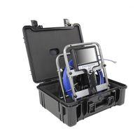 """23 mm Transmisor Tubería Alcantarillado Inspección de Drenaje Endoscopio Boroscopio Cable Azul 7 """"Pantalla negra negra ABS Maleta Metadero Contador 1"""
