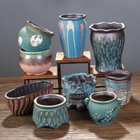 Criativo suculento vaso verde planta vaso plantador bonsai pote macetas escritório desktop ornamentos cerâmicos artesanato jardim arte y200723