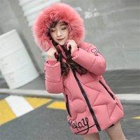 Invierno Cálido Niños Abrigo largo New Childrenwear Outerwear Colorido Collar de piel Algodón Bebé Chicas Chaquetas Niños Trajes Niñas Ropa Parka 201209