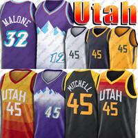 Utah Jazz Donovan 45 Mitchell Jerseys Utahs Jersey John 12 Stockton Jersey Karl 32 Malone Jerseys Baloncesto Vintage Jersey Uniforme