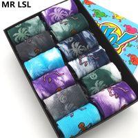 Meias Masculinas 10 Pares / Lot Fashion Homens Mulheres Algodão Graffiti Graffiti Tyeing Engraçado Skate Hip Hop Tube