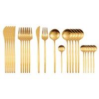 24Pcs Matte Gold Dinnerware Set 18 10 Stainless Steel Knife Fork Spoon Cutlery Set Kitchen Silverware Flatware Tableware Set Y1119