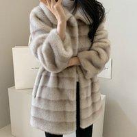 겉옷 털이 여성 가을 겨울 가짜 모피 코트 새로운 긴 밍크 재킷 레이디 모피 스트리트웨어 Veste Femme 여성 의류 ED50PC