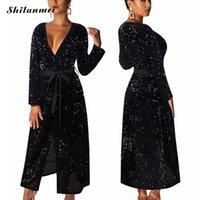 YYW Черных насыщенных Пояса Elegant Maxi платье с поясом клуб партия вечера Vestidos женщин сексуального V образный вырез с длинным рукавом платье блесток