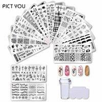 Picts You 12 * 6cm 네일 아트 템플릿 스탬핑 플레이트 디자인 꽃 동물 유리 온도 레이스 스탬프 템플릿 플레이트 이미지