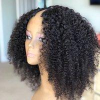 Mongolische verworrene lockige Perücke u Teil Perücke menschliches haar afro kinky curly u Teilperücken für schwarze Frauen kurze Bob Cut Perücke