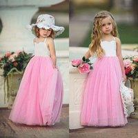 2018 vestidos de boda del desfile del tutú rosado baratos Boho las muchachas de flor vestidos de verano de la playa del partido del bebé de los niños del vestido de la princesa