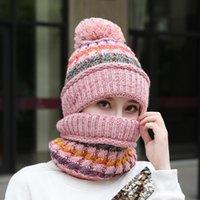 Mütze / Schädelkappen Sets 3 Vielfalt Tragen Samt Hüte Frauen Warme Winter Dicke Wolle Mützen Hut Lätzchen Maske Weibliche Strickklocke Ear Protector