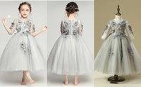 Grey Tulle Long Sleeves Handmade Flowers A Line Girls Pageant Dresses Jewel Neck Beads Kids Girls Birthday Formal Gown
