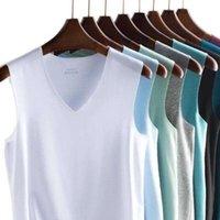 2pcs / lot 여름 남성 얼음 실크 속옷 남성 undershirt 투명 셔츠 남성 바디 셰이퍼 피트니스 레슬링 싱글 셋 4XL 5XL
