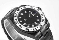 VR 공장 904L GMT CAL.3186 시간 둥근 시계와 함께 남성 자동 화이트 다이얼 블랙 세라믹 베젤 남자 스포츠 시계