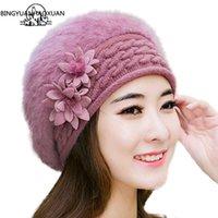 bingyuanhaoxuan حار بيع الدافئة ولطيفة الأميرة الإناث الشتاء محبوك القبعات مع زهرة المرأة الأرنب الفراء قبعة