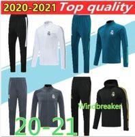 2020 echte schwarze Madrid Fußballjacke Trainingsanzug Windjacke 20/21 Real Madrid Adult volle Zipper Jacken Sportswear Größe S-2XL