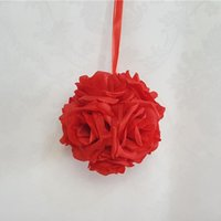 2 adet / grup 10 cm Yeni Yapay Şifreleme Gül Ipek Çiçek Öpüşme Topları Asılı Topu Noel Süsler Düğün Parti Süslemeleri