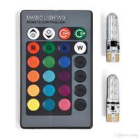 2 шт. RGB T10 W5W LED 194 168 W5W 5050 SMD автомобиль купола для чтения автомобилей автомобильные клиновые лампы RGB светодиодная лампочка с дистанционным контроллером