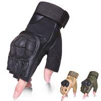 Gants tactiques de l'armée militaire Combat sans doigts d'aires de prise de vue de tirs d'aires de tir en carbone à demi-doigt gants en cuir véritable