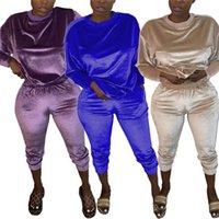 Высокое качество Коралловый Velvet костюм из двух частей Эпикировка WomenTracksuit Твердая карманный Sweatpants Беговая Seatsuit