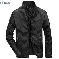 FGKKS бренд осенний зимняя куртка ветрозащитные люди PU мотоцикл мода мужские кожаные куртки 201215