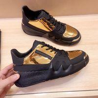 Nuevos hombres ITALIA Classic High Top Botón de oro con Zip Sneaker Triple Negro Plataforma de cuero blanco Zapatos casuales Mens Trend Trainer Party Show