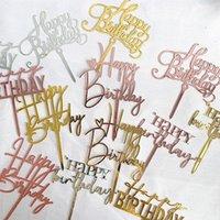 17 estilos Decoración de pasteles Cake Acrílico Topper Carta Corazón Feliz Cumpleaños Toppers para Fiesta de Cumpleaños Postre Cupcake Decor1