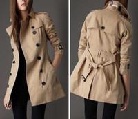 كلاسيكي المرأة أزياء إنجلترا الشرق الأوسط معطف خندق عالية الجودة لندن مصممة مزدوجة الصدر معطف الكاكي حجم S-XXL